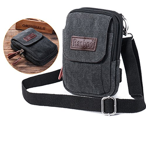 Ranboo Cellphone Purse Bag Waist Pouch Mini Crossbody Shoulder Bag Compatible iPhone XS Max iPhone 8 Plus 7 Plus Holster Pouch Premium Canvas Belt Loop Clip Pouch for Galaxy S9 Plus S8 Plus LG-Black