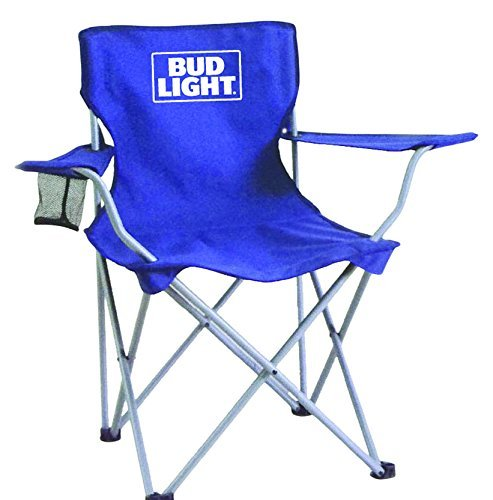 Bud Light collapsible tailgate chair with mesh cup holder/carry bag/steel frame, Blue, One Size [並行輸入品] B0742G8JR7