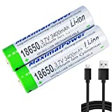 MaximalPower (3 Pack) 18650 3.7V 3400mAh Protected Li-ion Rechargeable Battery 2X + USB