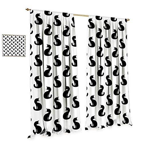 cobeDecor Cat Window Curtain Fabric Silhouette of a