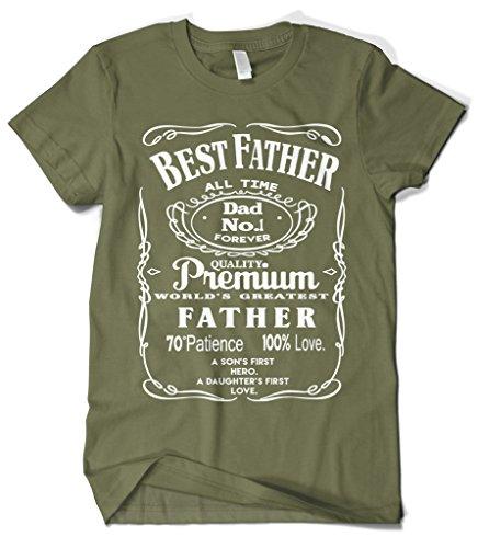 Cybertela Men's Best Father Premium Dad World's Greatest No.1 T-Shirt (Olive Green, 4X-Large)