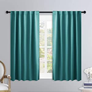NICETOWN Bedroom Curtains Blackout Panels - (Sea Teal) 34 inches x 45 inches, Double Panels, Thermal Insulated Rod Pocket/Back Tab Blackout Curtains for Dining Room Window