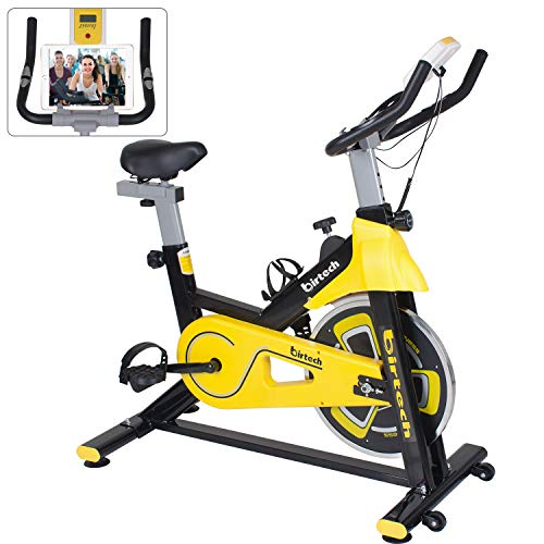 Exercise Bike Indoor Cycling Belt Driven Spinning Bike Studio Cycles, 7-Function LCD Display Monitor, IPAD Holder, Soft Cushion Seat, Home Use Exercise Machine (yellow)