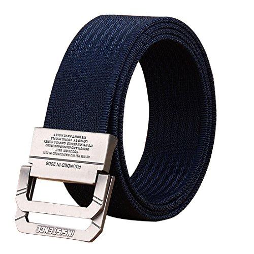 "(Fairwin EDC Tactical Belt - Reinforced Thick Concealed Belt - 1.5"" Nylon Webbing Heavy Duty EDC Gun Belt with No Metal No Hole Plastic Buckle Belt (Navy, Customize to Waist 45"