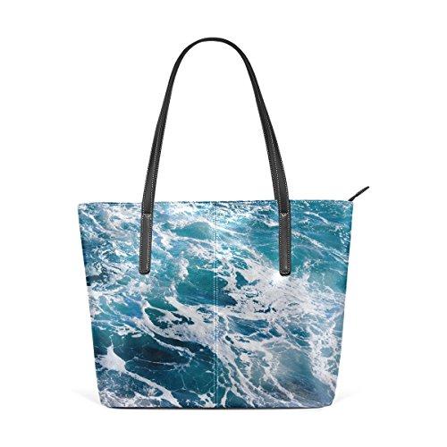 a7056eaa25ec0 COOSUN Deep Blue Ominöse Ozean Wasser Hintergrund PU Leder Schultertasche  Handtasche und Handtaschen Tasche für Frauen