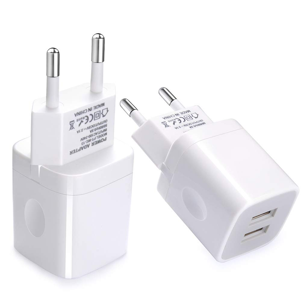 European Wall Charger, Vifigen 2-Pack USB 2.1AMP Universal Europe Charger Block Dual Port Plug Compatible for iPhone X/8/7/7 Plus 6/6 Plus 5S 5 4S Samsung S5 S4 S3, Note 5, HTC, LG and More Device