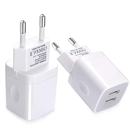 European Wall Charger, Vifigen 2-Pack USB 2.1AMP Universal Europe Charger Block Dual Port Plug Compatible for iPhone X/8/7/7 Plus 6/6 Plus 5S 5 4S ...