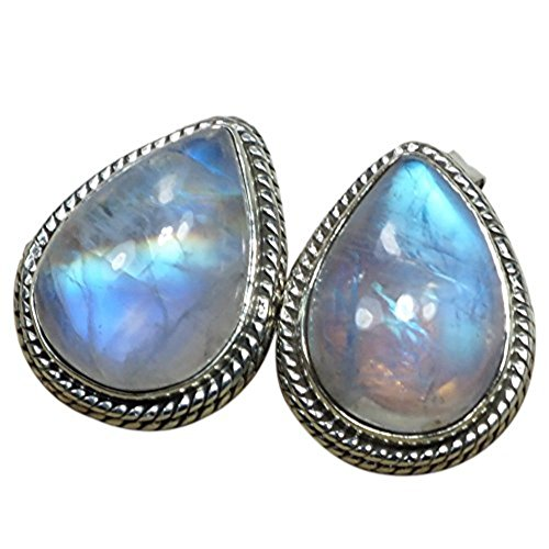 (Genuine Moonstone Stud Pear Shape & Stud Earrings)
