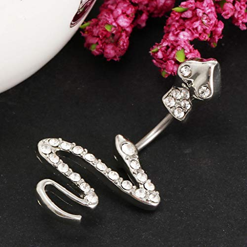 (Crystal Stainless Steel Dangle Belly Rings Navel Body Belly Piercing Jewelry (Color - Snake -2))