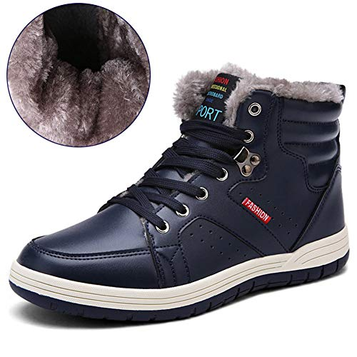 SCIEN Men's Leather Snow Boots High Top Sneakers Winter Shoes with Fur Lining, A Dark Blue 46