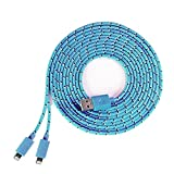 DCI 54946 XL 2-in-1 Phone Charger Cable - USB to 2 Lightning Cables, iPhone 5 or 6, Nylon Braided Tangle Free Cord, 9 Inches, Blue