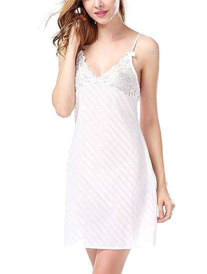HHXWU Pijamas Mujeres Lencería Sexual Mujeres Diagonal Raya Lencería Sexy camisón camisón Pijamas, Blanco,