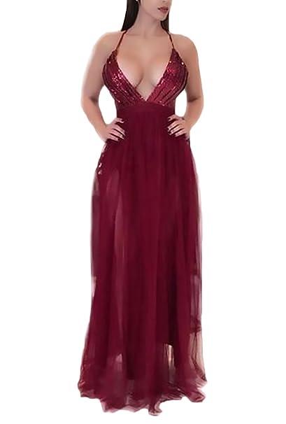 Mujer Vestidos De Fiesta Para Bodas Largos Elegantes Lentejuelas Hilado Neto Splicing Talle Alto Vestidos De