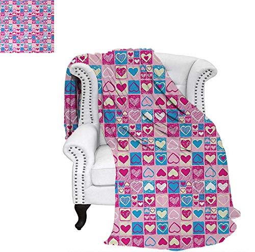 Sunset glow Love Travel Blanket Doodle Sketchy Hearts in Squares Artistic Childish Romance Girls Kids Design Dog Blanket 62 x 60 inch Pink Blue Cream