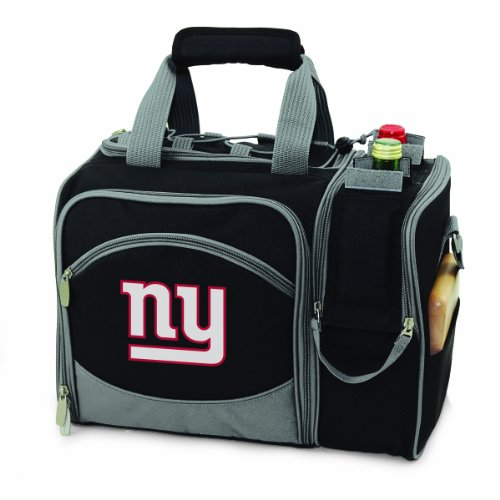 NFL New York Giants Malibu Insulated Shoulder Pack with Deluxe Picnic Service for Two (Giant Wine Glass Cooler)