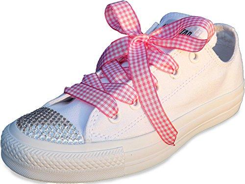 Schnürsenkel für Babies, Kinder und Damen, niedlich, rot/rosa kariert, für Converse Low & High Tops Pink Gingham Laces