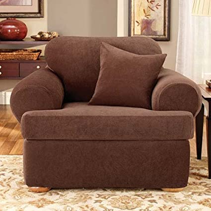 Sure Fit Stretch Pique 3 Piece   Chair Slipcover   Chocolate (SF37932)