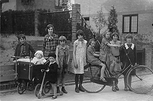 Group of people with bicycle Real Photo Bicycle Postcard