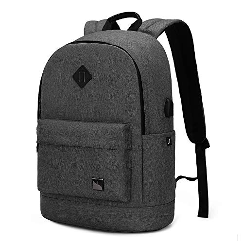 Laptop Backpack, Travel Computer Backpack with USB Charging Port for Men Women, Durable School Student Bookbag, Water-Resistant Rucksack Laptop Bag for 15.6 Inch Computer/Notebook/Laptop (Black)