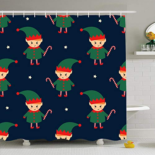 Ahawoso Shower Curtain 66x72 Inches Children Blue Cute Christmas Elf Candy Cane Santa Pattern Holidays Kids Baby Boy Fairy Waterproof Polyester Fabric Set with Hooks ()