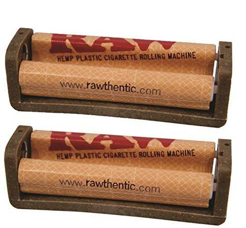 Raw Natural Rolling Papers Hemp Plastic Cigarette Rolling Machine, 79mm 1 1/4 Inch Size (2 Pack)