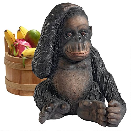 Design Toscano JQ3551 The Chimpanzee of The Jungle Monkey Outdoor Statue, One Size, Multicolor
