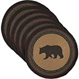 VHC Brands Rustic & Lodge Tabletop & Kitchen-Wyatt Tan Bear Round Jute Tablemat Set of 6, Rust