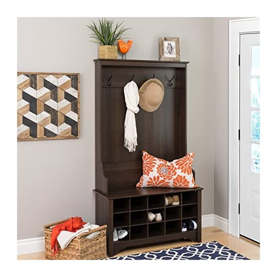 """Atlin Designs Hall Tree with Shoe Storage in Espresso - Finish: Espresso Finished in rich espresso laminate Assembled Dimensions: 38"""" W x 68"""" H x 15.5"""" D - hall-trees, entryway-furniture-decor, entryway-laundry-room - 51NqBJN7OAL. SS570  -"""