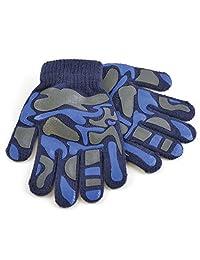 Childrens Boys Camo Design Winter Magic Gloves (One Size) (Navy)