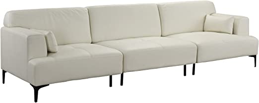 Extra Large Living Room Leather Sofa/Couch (Off-White)