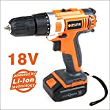 VOLL PLUS 18V MAX Lithium-Ion Cordless Drill Driver Compact Drill Kit Variable Speed Black Orange