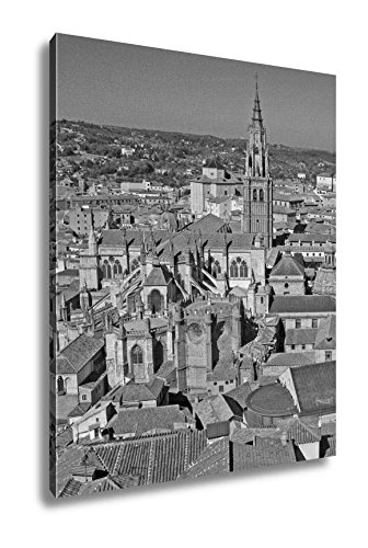 Ashley Canvas Toledo Spain August 24 2012 Aerial View Of Toledo Toledo Cathedral, Wall Art Home Decor, Ready to Hang, Black/White, 20x16, AG6080803 by Ashley Canvas