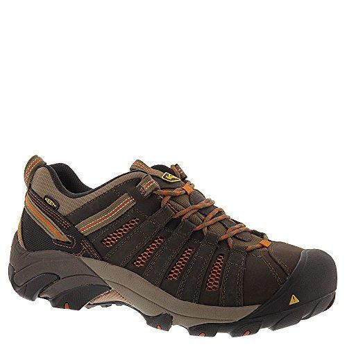 KEEN Utility Men's Flint Low Steel Toe Work Shoe, 10D, Shitake Brown/Rust