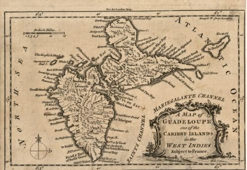 1759 Map A map of Guadeloupe, one of The Caribby Islands in The West Indies Subject to France. - Siz