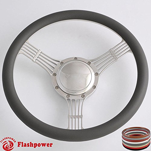 (Flashpower 14'' Billet Banjo Half Wrap 9 Bolts Steering Wheel with 2'' Dish and Horn Button (Dark Grey))