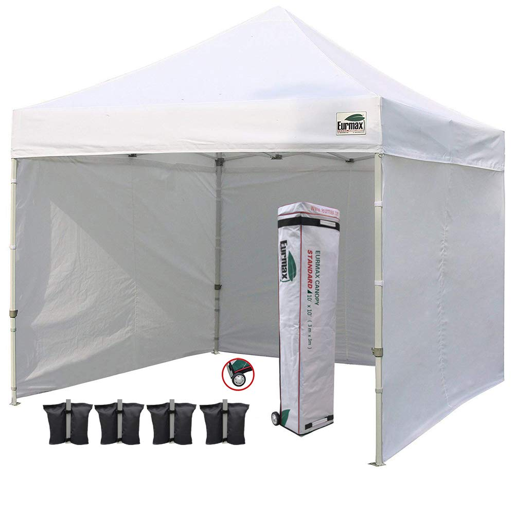 Eurmax 10'x10' Ez Pop Tent Commercial Instant Canopies with 4 Removable Zipper End Side Walls and Roller Bag Bonus 4 SandBags Weight, 1-White by Eurmax (Image #1)