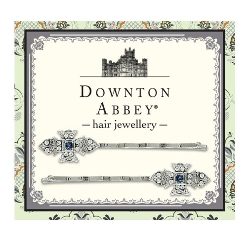 Downton Abbey® Sapphire Blue & Diamond-like Crystal Silver Tone Bobby Pin Fastener by 1928 Jewelry