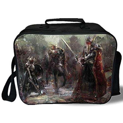 Insulated Lunch Bag,Fantasy World,Three Soldiers in Forest Cold Snowy Winter Fighting Defending Demonic Battlefield,Brown,for Work/School/Picnic, Grey