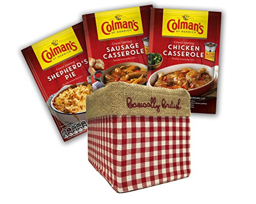 Colman's Great Tasting Seasoning Mix Pack of 6 in Hand embroidered Basically British Gift Box with Traditional Tea Towel