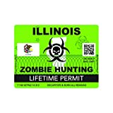 fagraphix Zombie Illinois State Hunting Permit Sticker Self Adhesive Vinyl Decal IL - 4.00 Wide