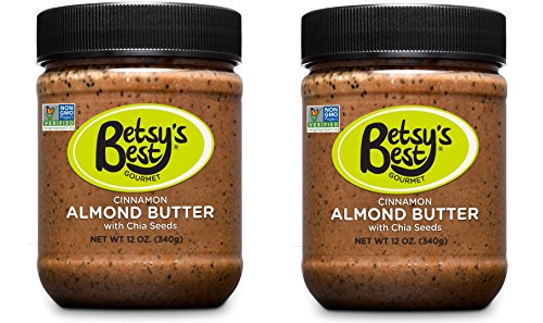 (Gourmet Cinnamon Almond Butter w/ Chia Seeds by Betsy's Best - Award Winning - All Natural and GMO Free(Cinnamon, 2 Jars))