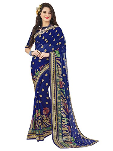 Women Blue Chiffon Brasso Work Sarees ()