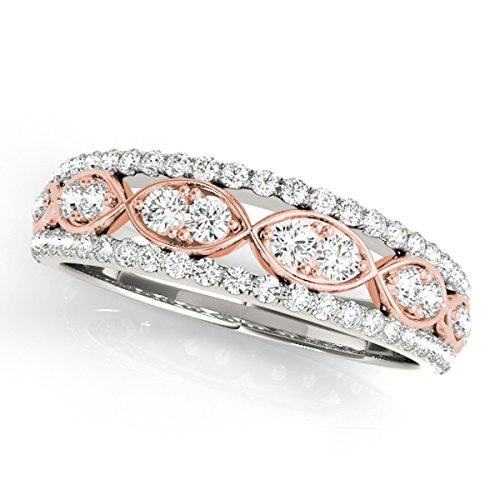 1/2 Carat Two-Tone Diamond Wedding Band In 14K Solid Rose & White Gold