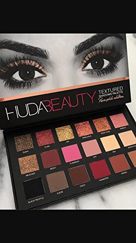 Huda Beauty Textured Shadows Palette Eye Shadow Eyeshadow Rose Gold Edition .63 ounce New by Huda Beauty