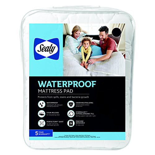 - Sealy Waterproof Mattress Pad, Twin, White