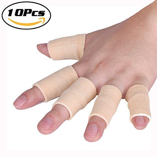 Finger Sleeves Support, Luniquz, Elastic Splint Brace for Arthritis Finger Compression Protector for Sports (Beige)