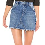 Women's Casual Distressed Ripped A-Line Denim Short Skirts Summer Jeans Mini Skirt (Blue, US Size 10)