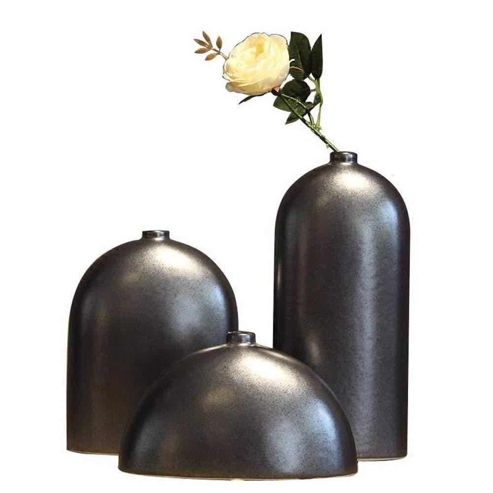 3ピースセラミック花瓶用花緑植物結婚式植木鉢装飾ホームオフィスデスク花瓶花バスケットフロア花瓶 B07QSQ1MTX
