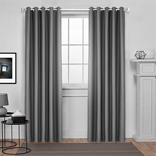 Dreaming Casa Solid Room Darkening Blackout Curtain For Bedroom 63 Inches Long Draperies Window Treatment 2 Panels Grey Grommet Top 2(52