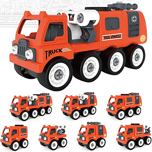 7 in 1 Take Apart Toys DIY Assembly Truck Construction Excavator Toy with Tool Kits, Construction Engineering Building Toys Gifts for Boys & Girls Educational Toy Cars for 3+ Year Old Boys (50 PCS)
